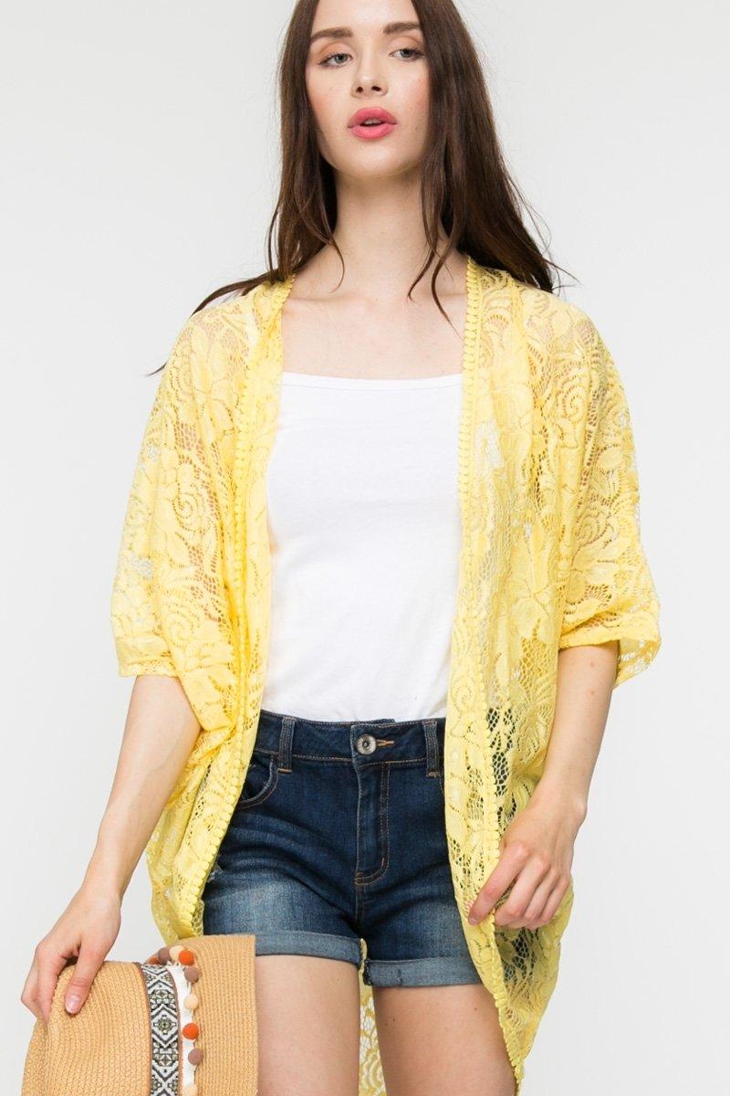 Yellow Lace Trim Loose Kimono
