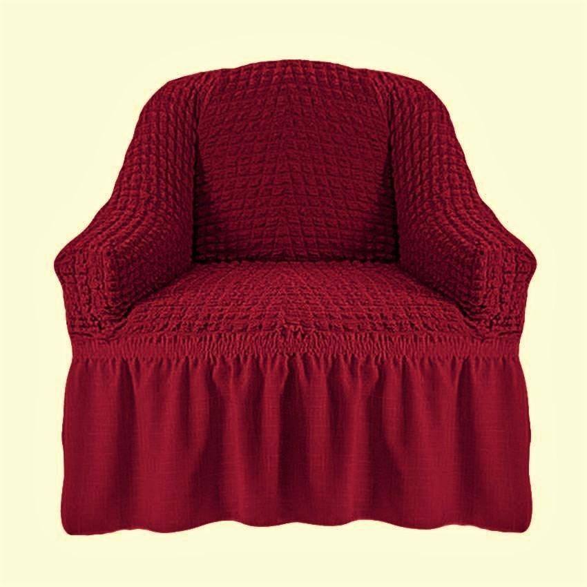 Чехол на кресло с оборкой (бордо)
