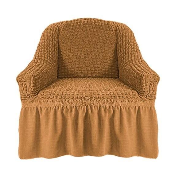 Чехол на кресло с оборкой (горчичный)