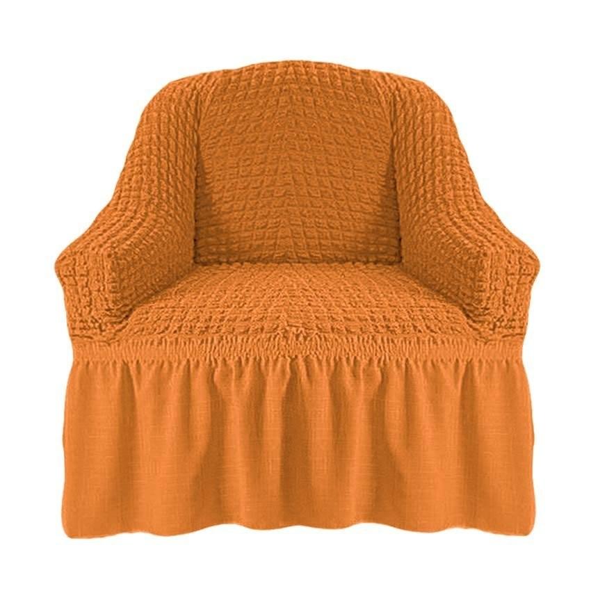 Чехол на кресло с оборкой (охра)