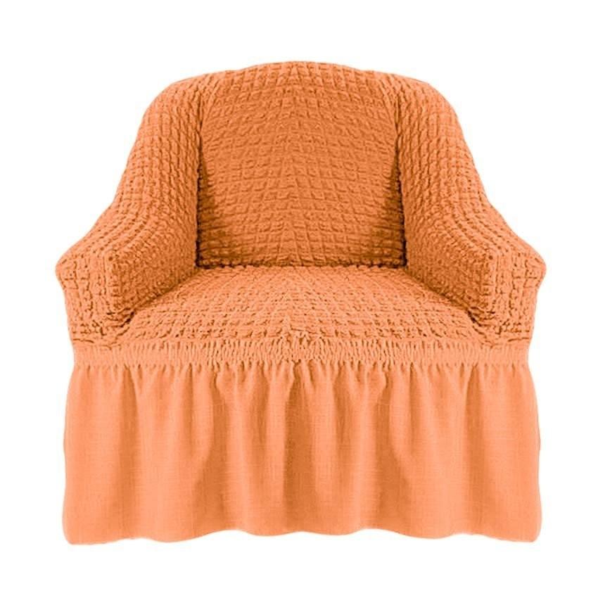 Чехол на кресло с оборкой (персик)
