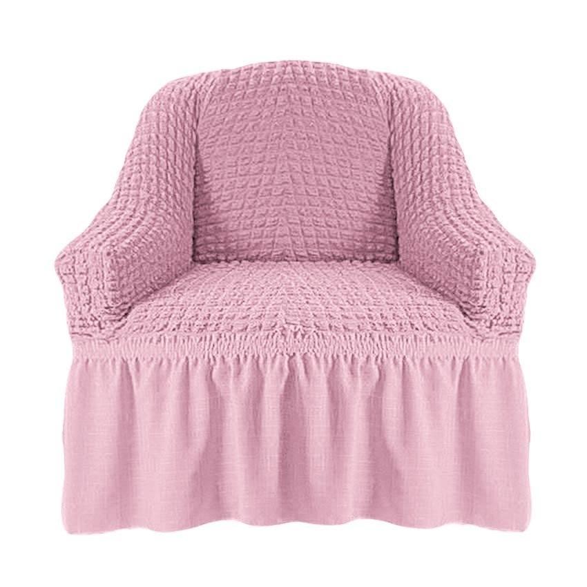 Чехол на кресло с оборкой (розовый)