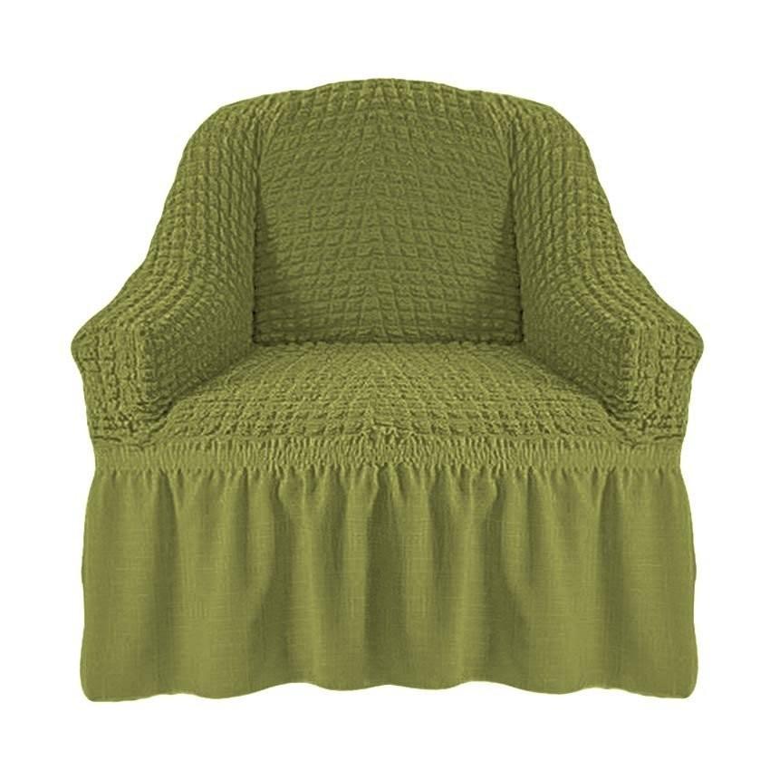 Чехол на кресло с оборкой (фисташка)