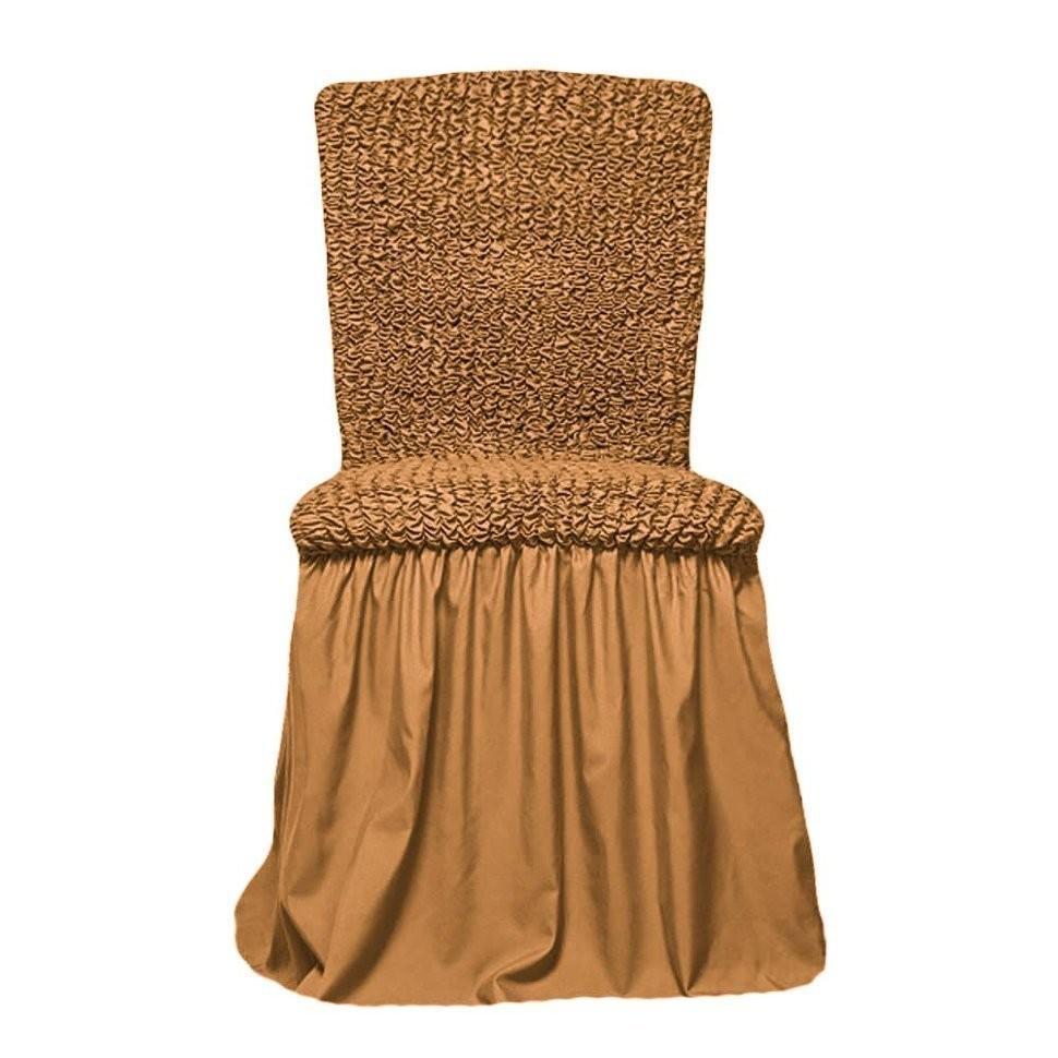 Чехол на стул с оборкой (горчичный)