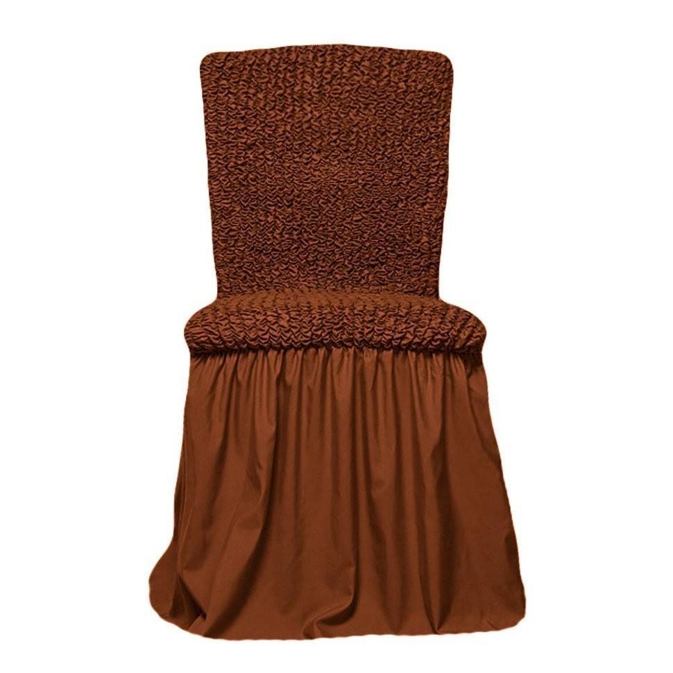 Чехол на стул с оборкой (коричневый)