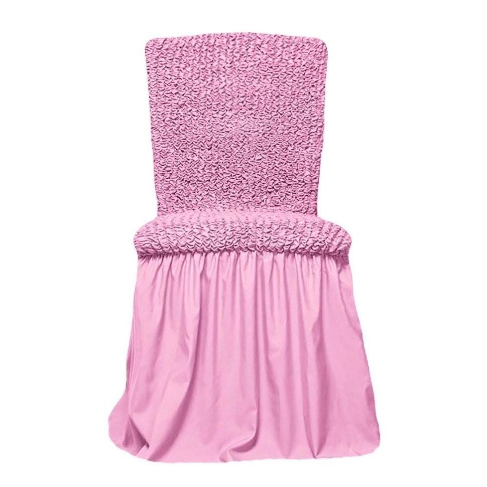Чехол на стул с оборкой (розовый)