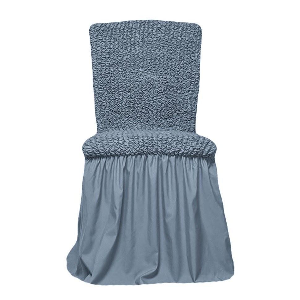 Чехол на стул с оборкой(сизый)