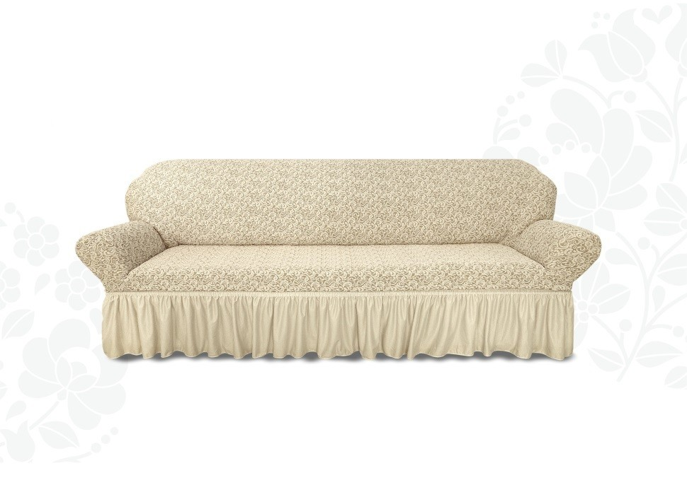 Чехол на 3-х местный диван жаккард с оборкой 3MVV-1447