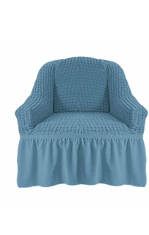 Чехол на кресло с оборкой (сизый)