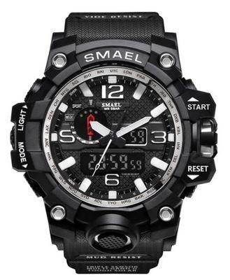 MONTRE SMAEL icone classique bracelet noir cadran chiffres blancs