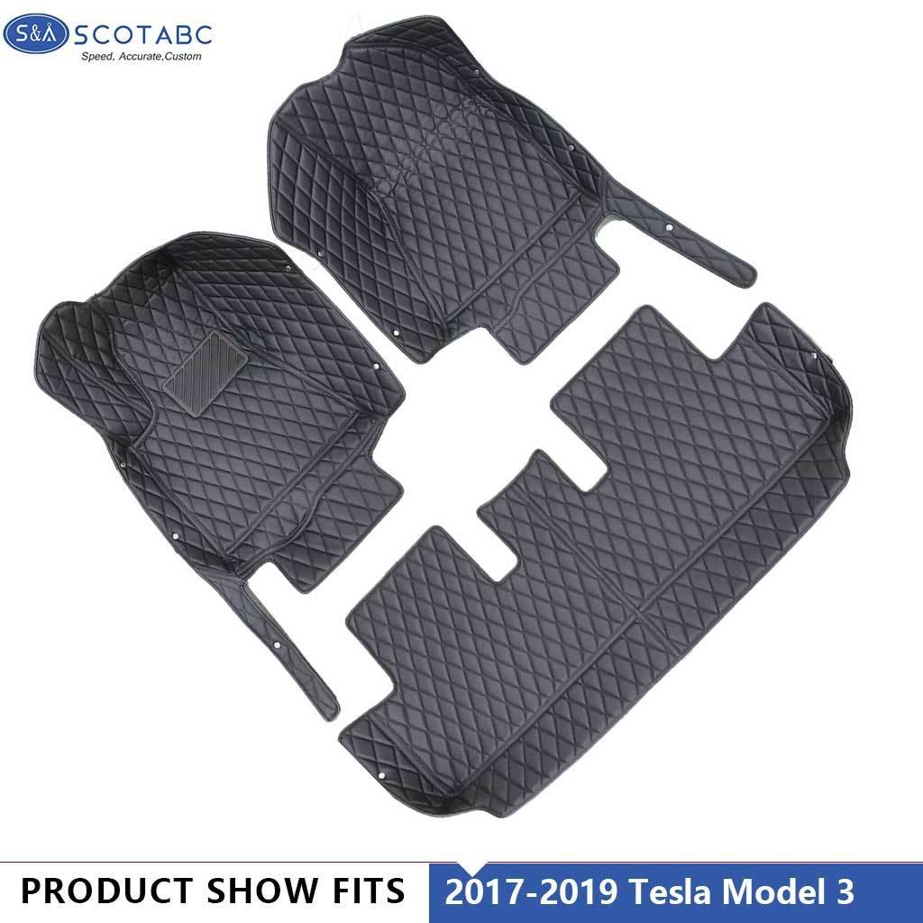 Tesla Model 3 Floor Mats 2017 2018 ,All Weather Waterproof  Carpets 1Set