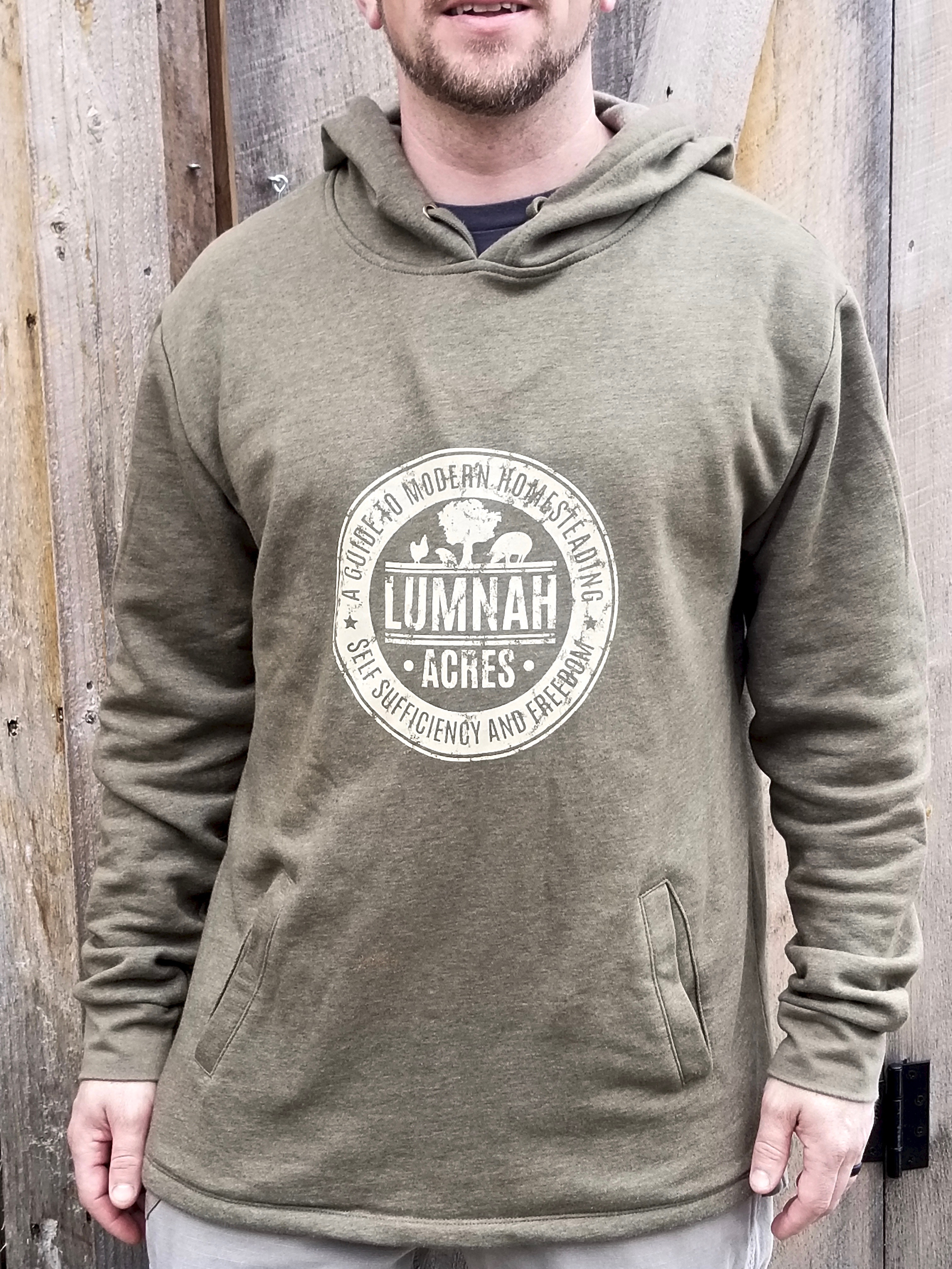 Lumnah Acres Unisex Hooded SweatShirt Military Green 10