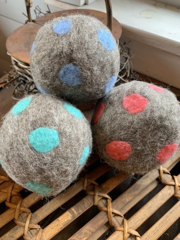3 Ovella Wool Dryer Balls - Polka Dot Collection