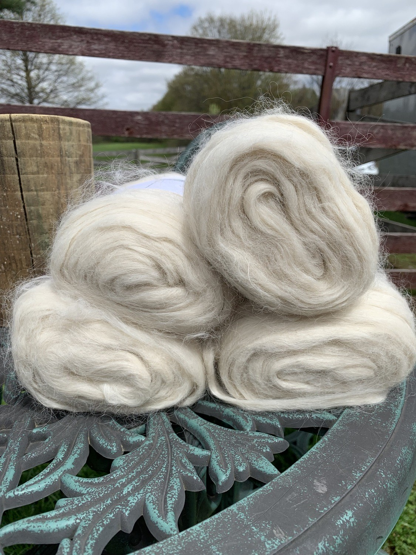 Suri Alpaca Roving - White