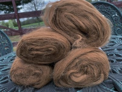 Suri Alpaca Roving - Brown