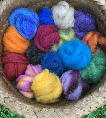 Alpaca Wool Roving Sampler - Summer Colors