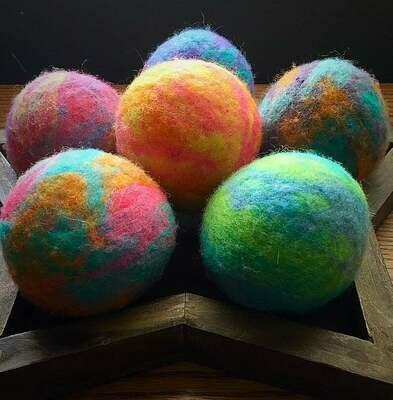 3 Ovella Wool Dryer Balls - Doces Tye Dye Collection
