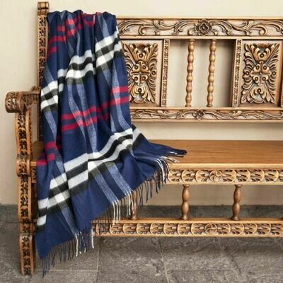 Nautical Plaid 100% Baby Alpaca Throw