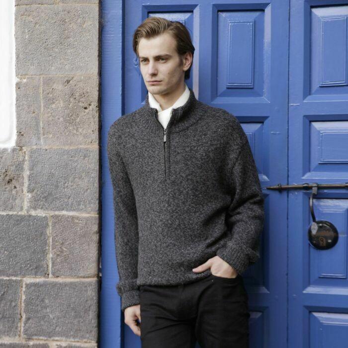 Men's Half Zip Alpaca Pullover Sweater
