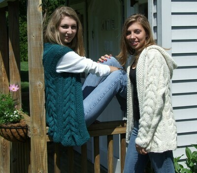 Complimentary Cables Vest & Sweater Pattern