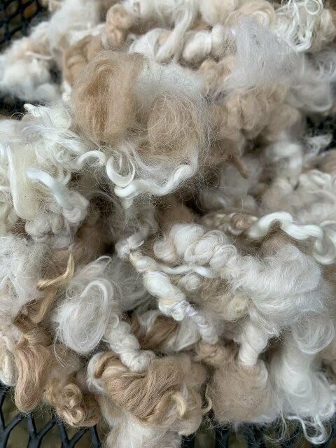 Alpaca Mohair Art Yarn - White and Light Fawn