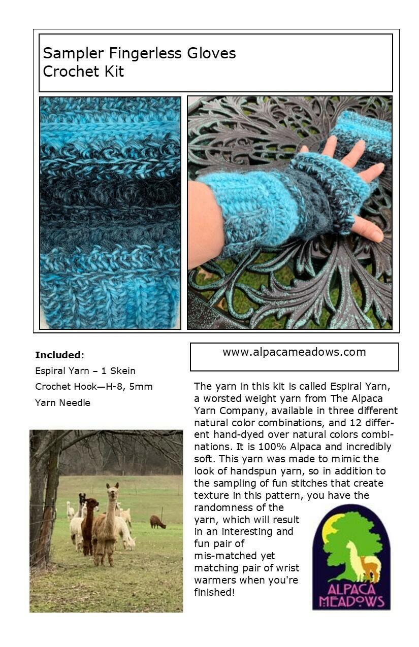 Sampler Alpaca Fingerless Gloves Kit