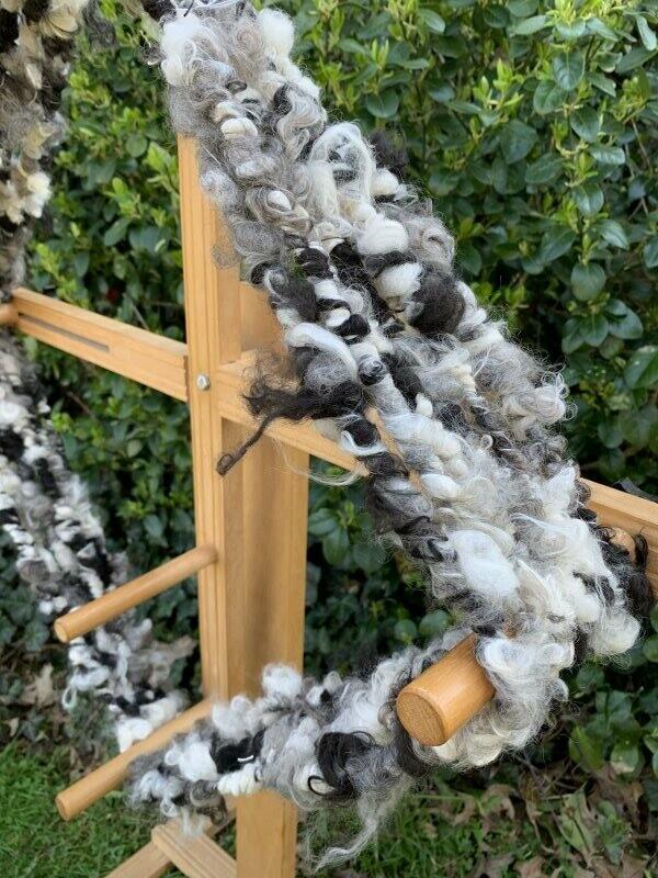 Suri Alpaca Mohair Art Yarn - Black, White, Grey