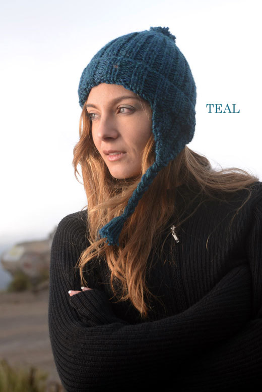 Fancy Chunky Chullo Alpaca Hat - Teal