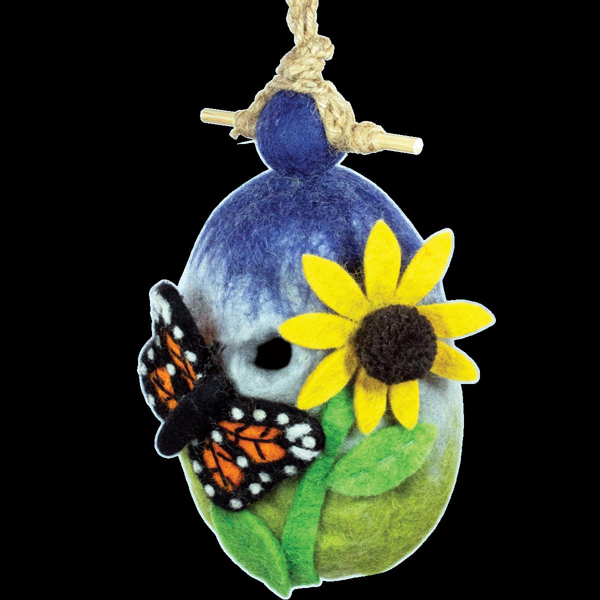Felt Birdhouse - Butterfly Garden