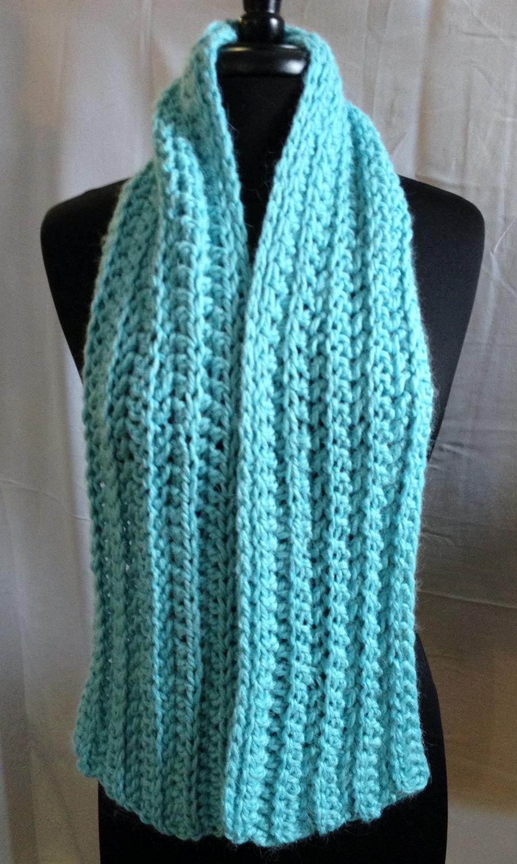 Bulky Ribbed Crochet Scarf 00252Seafm