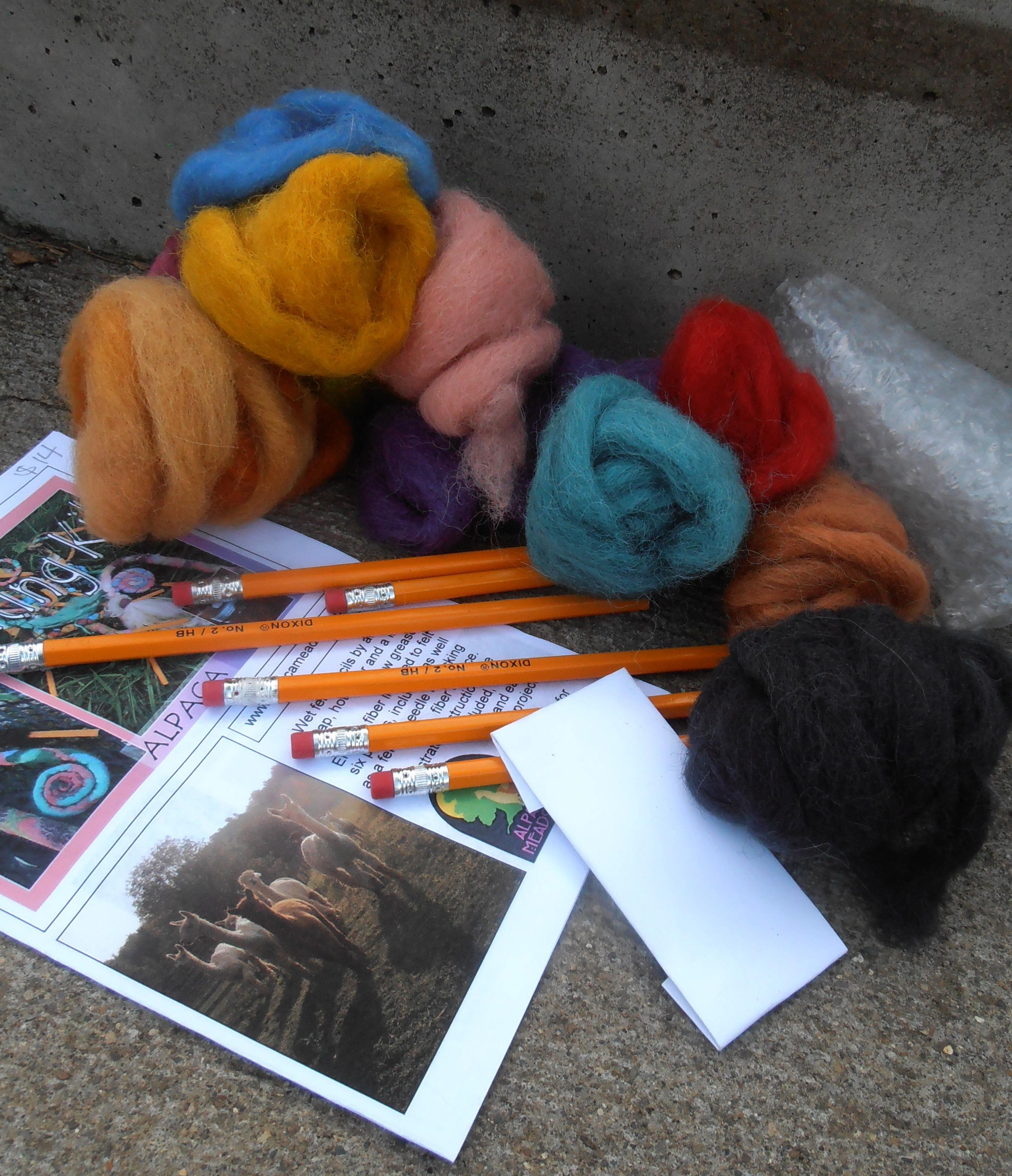 Alpaca Pencil Felting Kit, Supplies