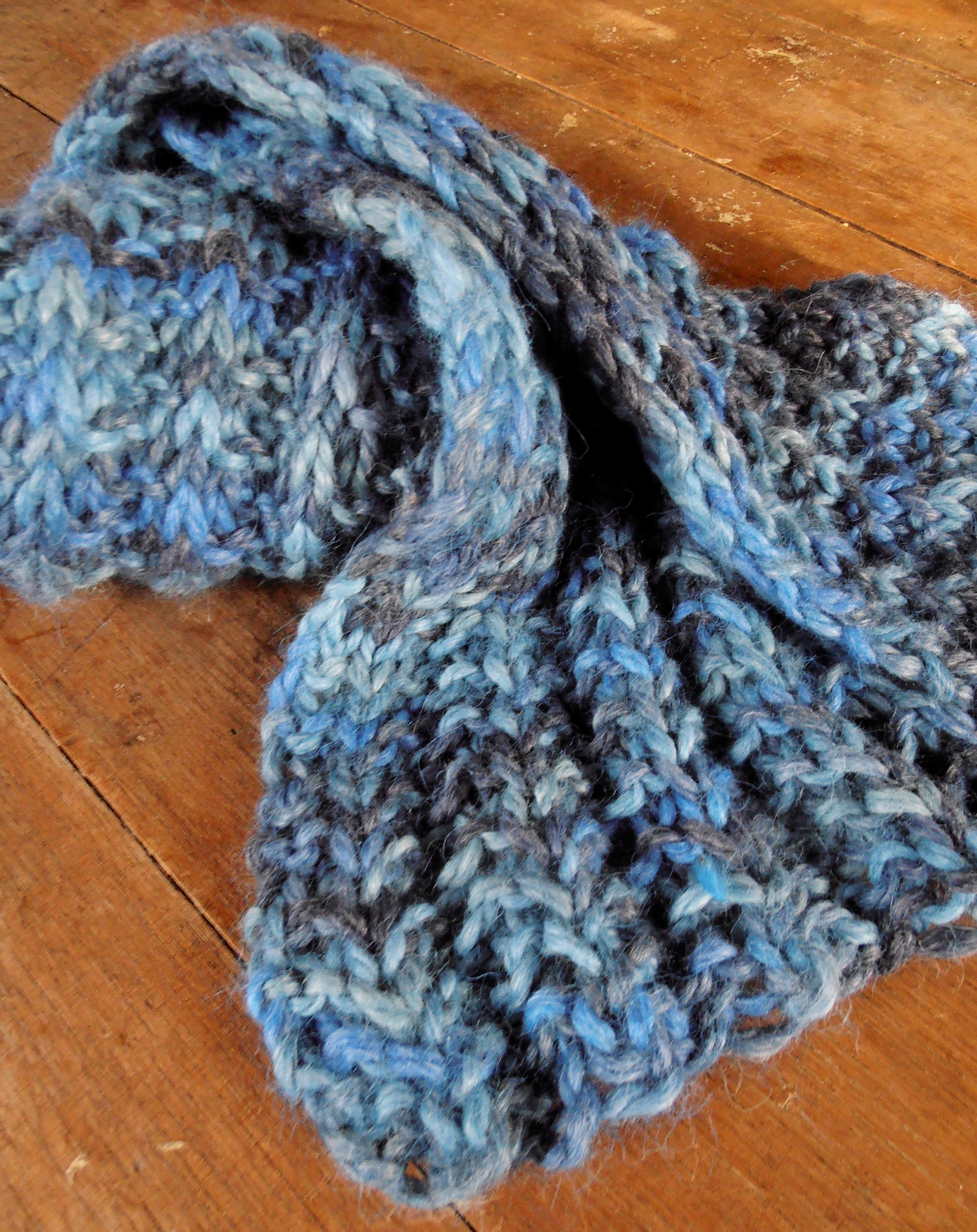 Bulky Ribbed Crochet Scarf 17717-BchBlus