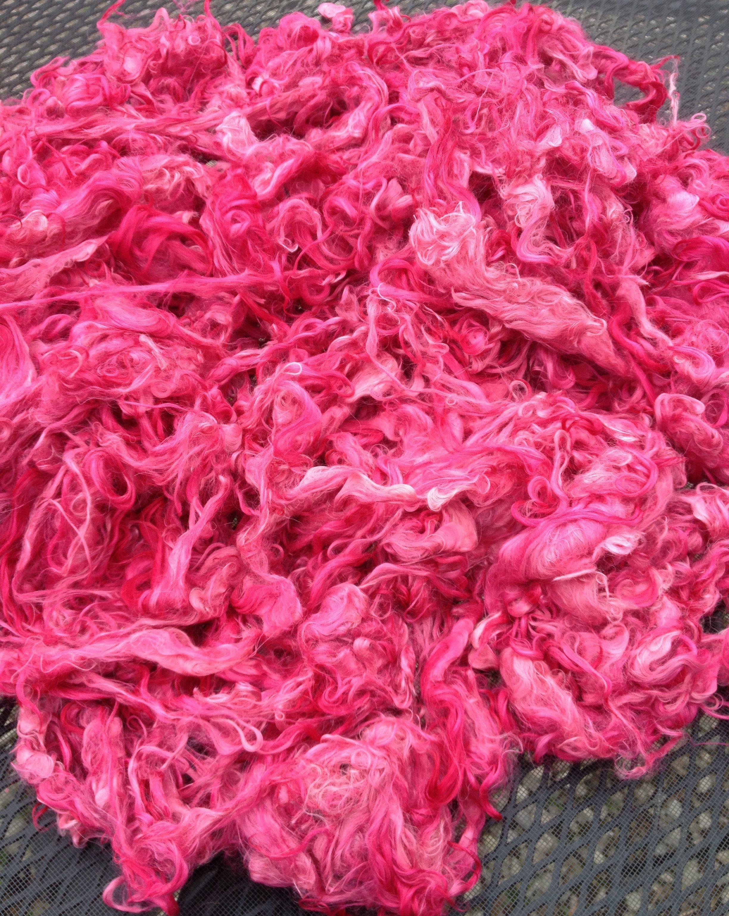 Hand-Dyed Suri Alpaca Fiber, 5.5 Inches, Orchid