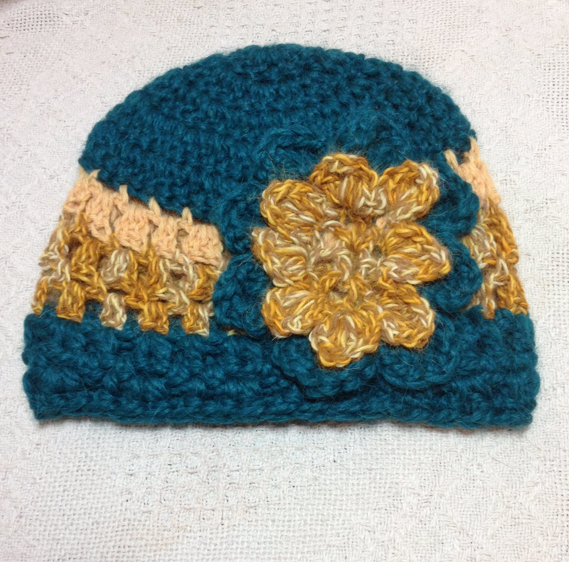 Alpaca Hat - Green, Gold, with Flower 17795