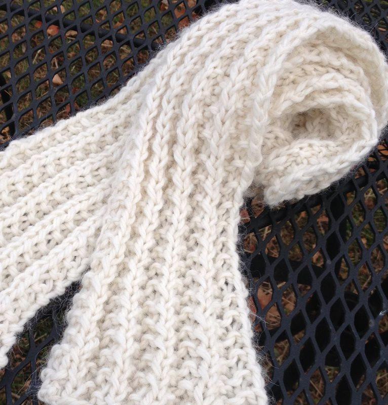 Bulky Ribbed Alpaca Wool Scarf