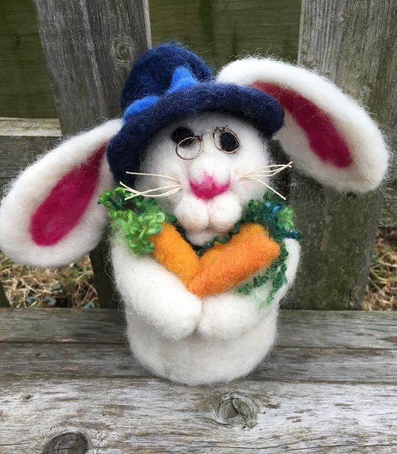 "Needle Felted Bunny Rabbit, ""Quinn"" 17872"
