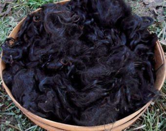 Suri Alpaca Fiber, 4 Inches, True Black, 2 Ounces, Mayflower