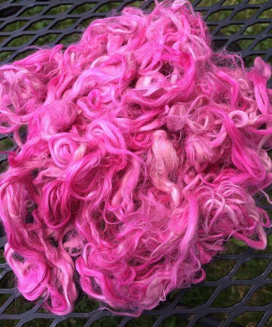 Hand-Dyed Suri Alpaca Fiber, 4 Inches, Cyclamen