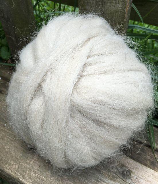 Suri Alpaca Roving - White 17926