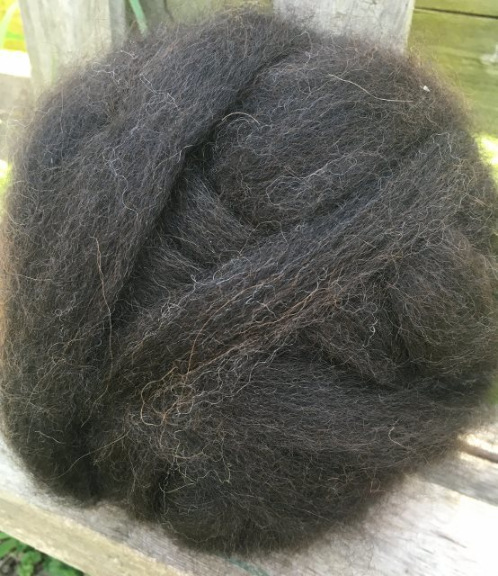 Alpaca Roving - Bay Black, Amelia