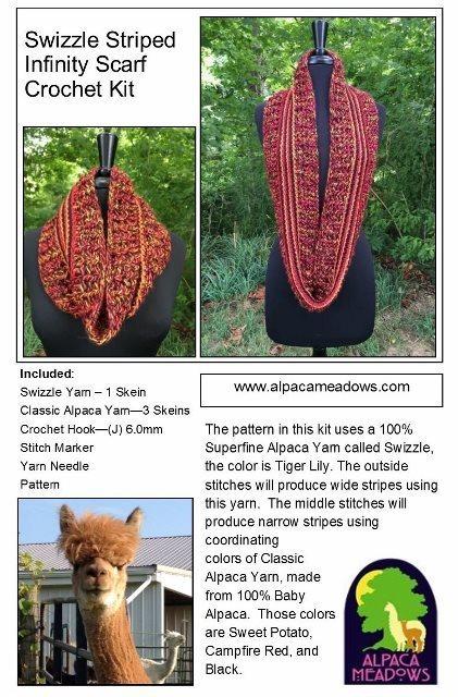 Alpaca Crochet Kit - Swizzle Striped Infinity Scarf 17947
