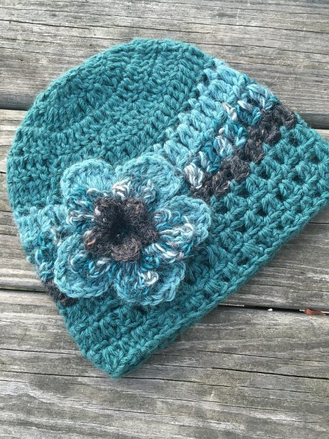 Alpaca Hat with Flower - Teal and Grey