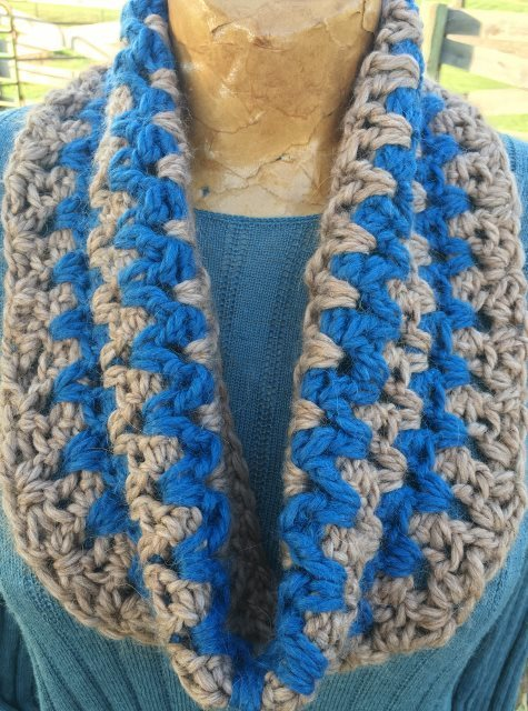 Stormy Weather Cowl - Tan and Blue 17971