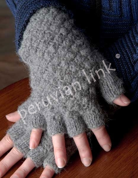 Textured Fingerless Alpaca Gloves 17990