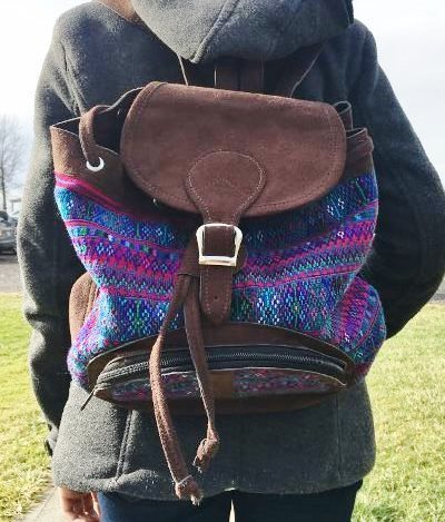 Handwoven and Leather Backpack 18043