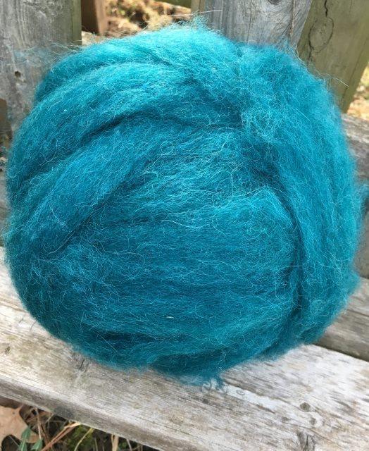 Alpaca Wool Roving - Teal 18054