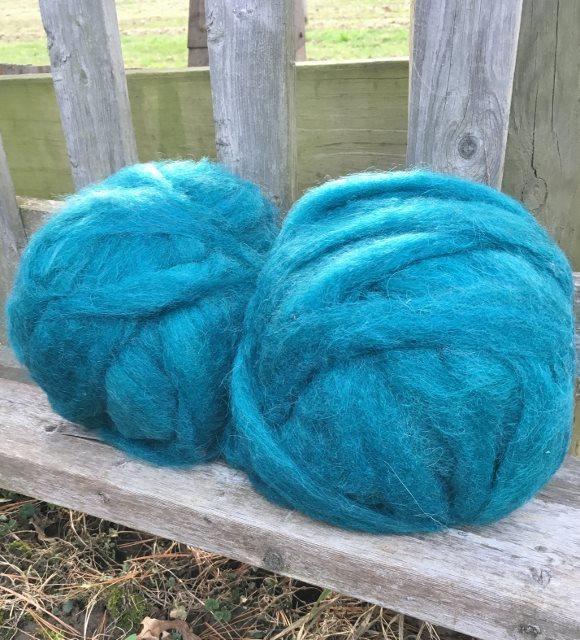 Alpaca Wool Roving - Teal
