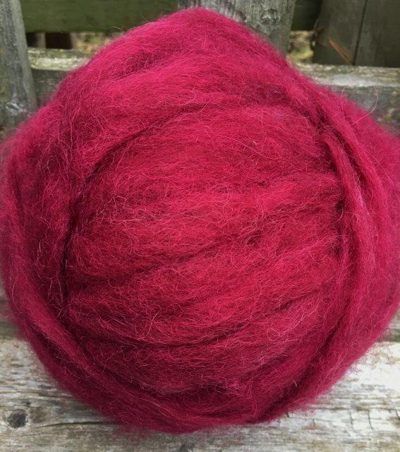 Alpaca Wool Roving - Burgundy 18056
