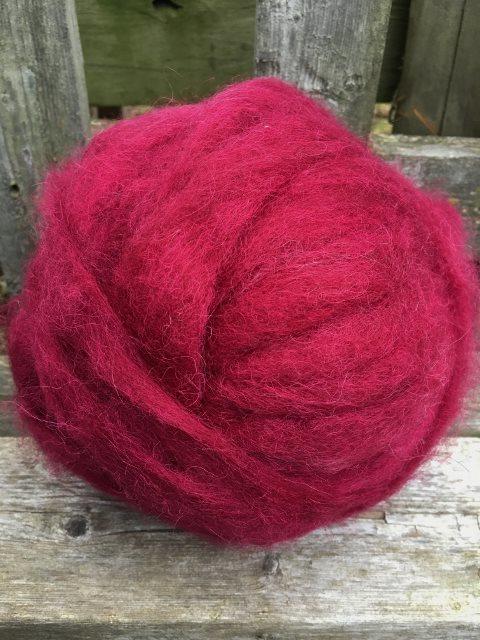 Alpaca Wool Roving - Burgundy
