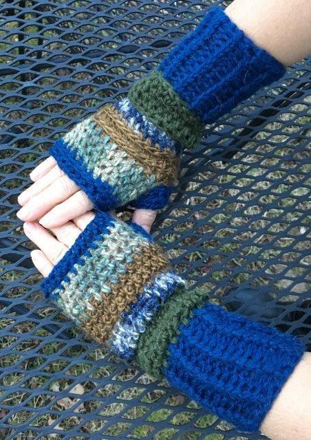 Fingerless Alpaca Gloves - Blue, Green, Bronze 18074